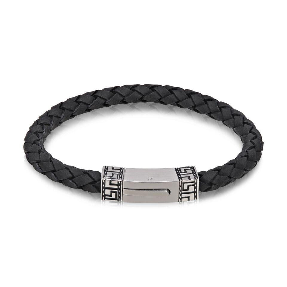 A.R.Z Steel - Two Tone Clasp Carved Black Braided Bracelet