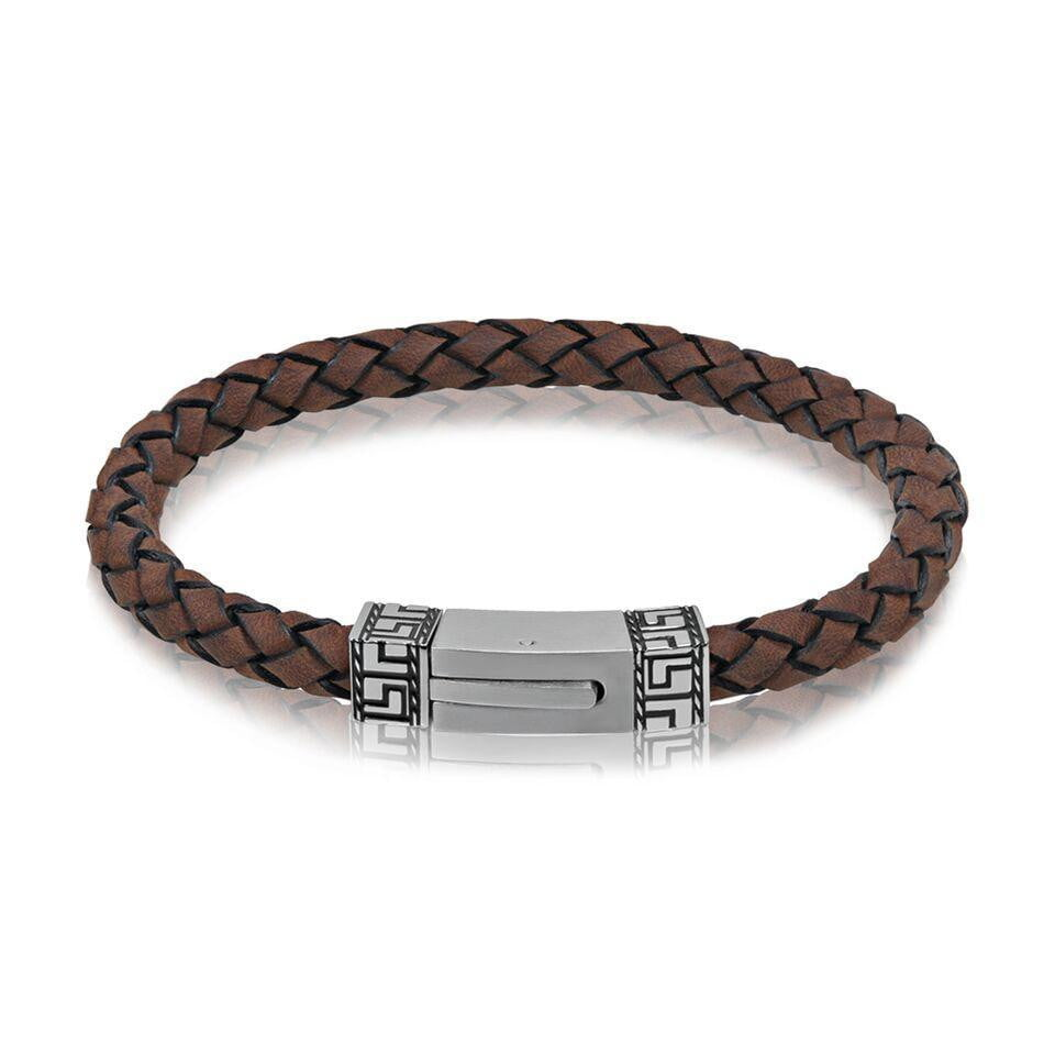 A.R.Z Steel - Two Tone Light Brown Carved Clasp Bracelet