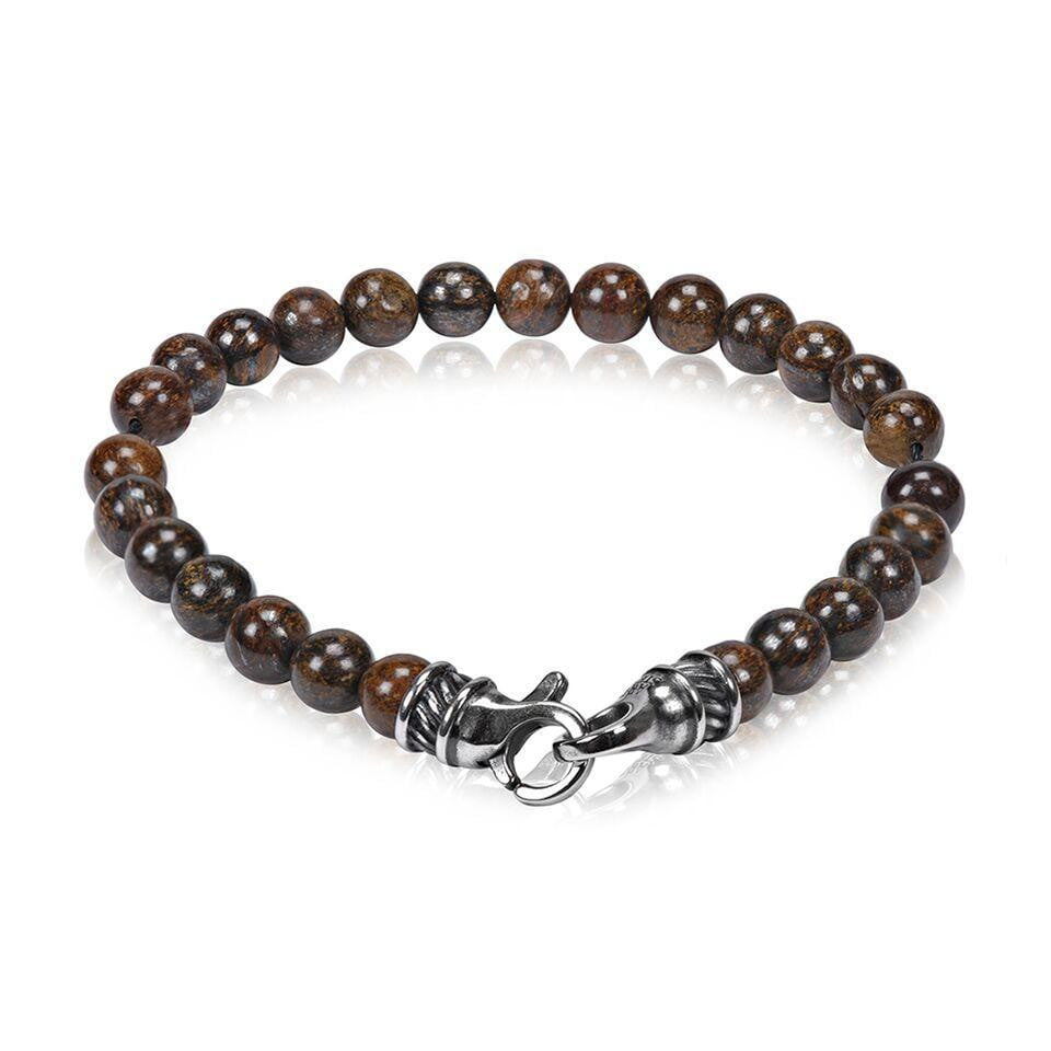 A.R.Z Steel - 7mm Tiger Eye Bead Shiny Bracelet