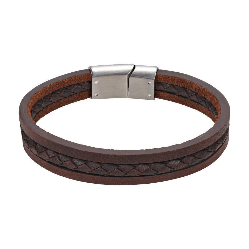 A.R.Z Steel - Three Band middle Woven Leather Bracelet