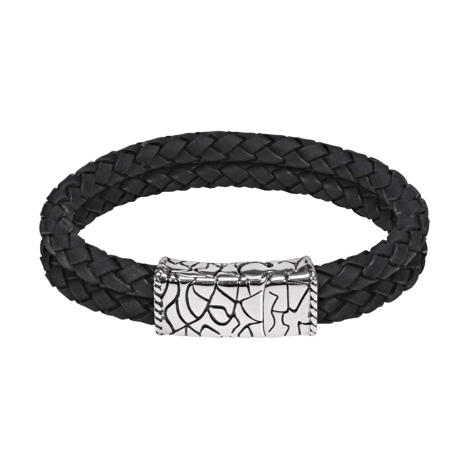 A.R.Z Steel - Two Tone Black Braided Carved Clasp Bracelet