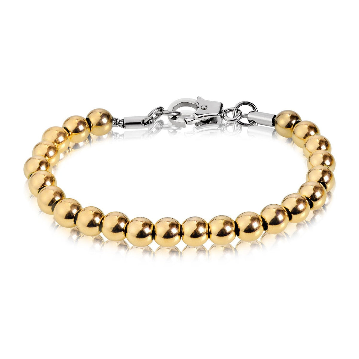 A.R.Z Steel - 7mm Steel Gold Bead Bracelet
