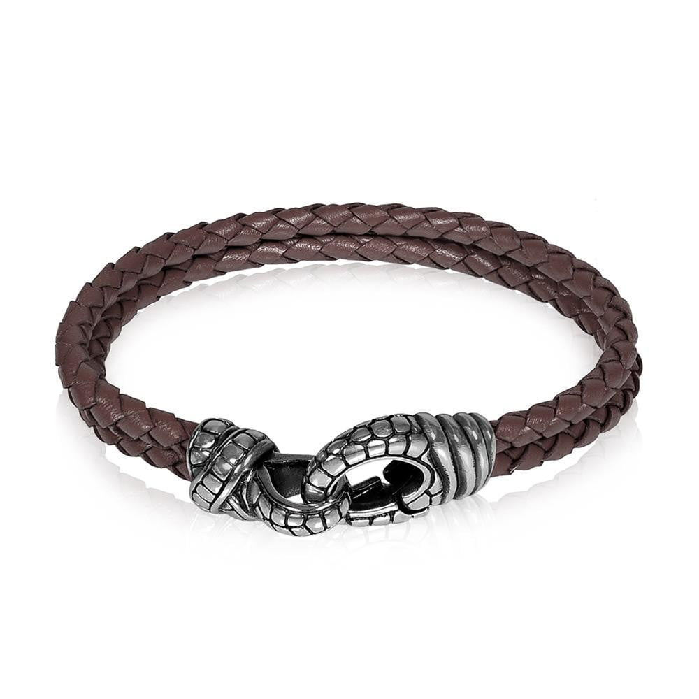 A.R.Z Steel - Snake Light Brown Braided Leather Bracelet