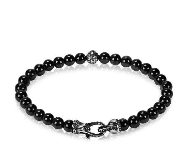 A.R.Z  Steel - 6mm Black Onyx Bead Bracelet