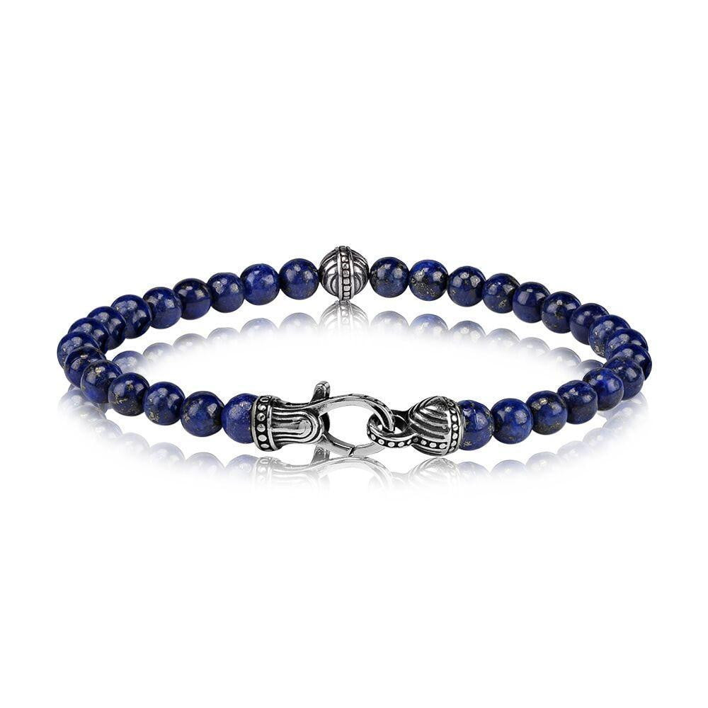 A.R.Z Steel - 6mm Lapis Blue Bead Bracelet