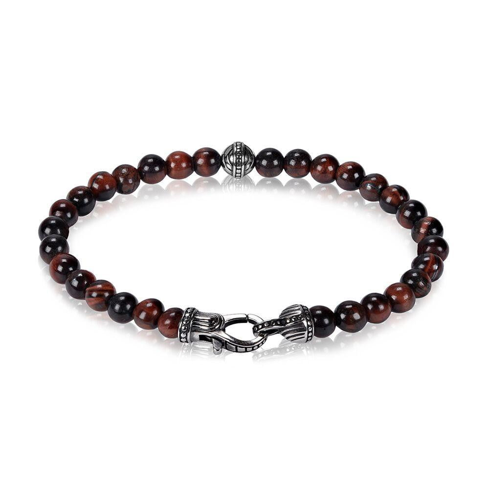 A.R.Z Steel - 6mm Red Tiger Eye Bead Bracelet