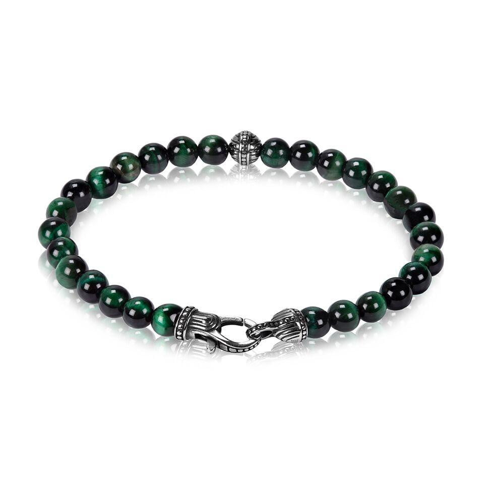 A.R.Z Steel - 6mm Green Tiger Eye Bead Bracelet
