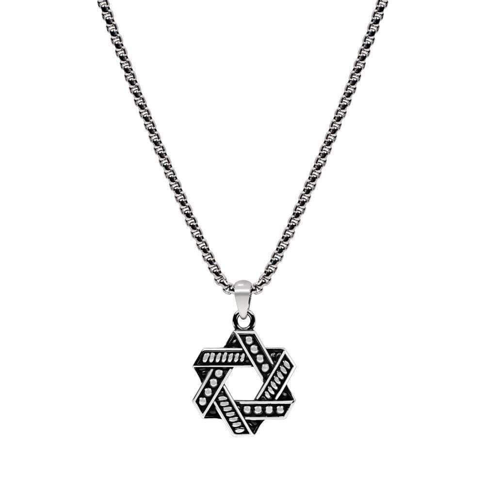 A.R.Z  Steel - Star Of David Pendant Chain