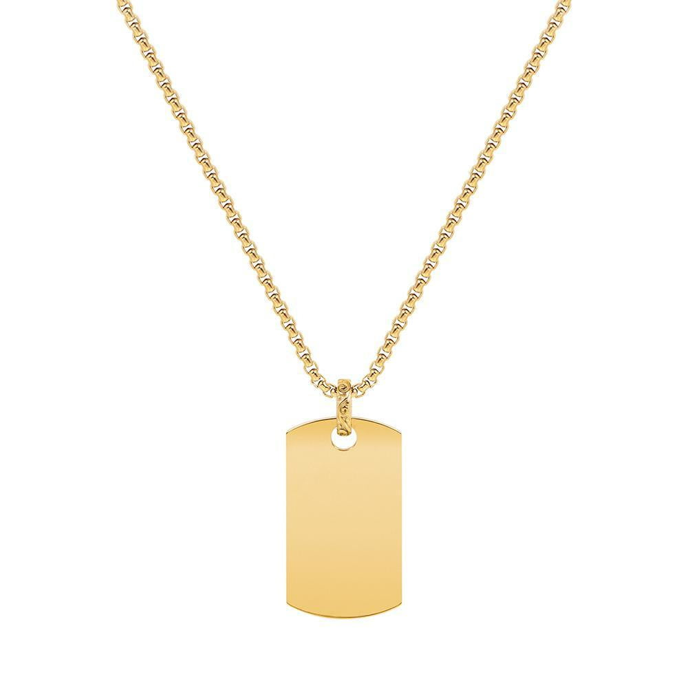 A.R.Z Steel - Gold Dog Tag Pendant And Chain