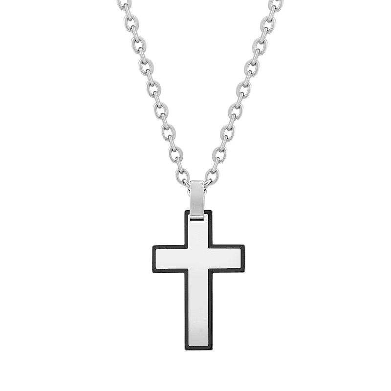 A.R.Z Steel - Black Outline Stainless Steel Cross Pendant Chain