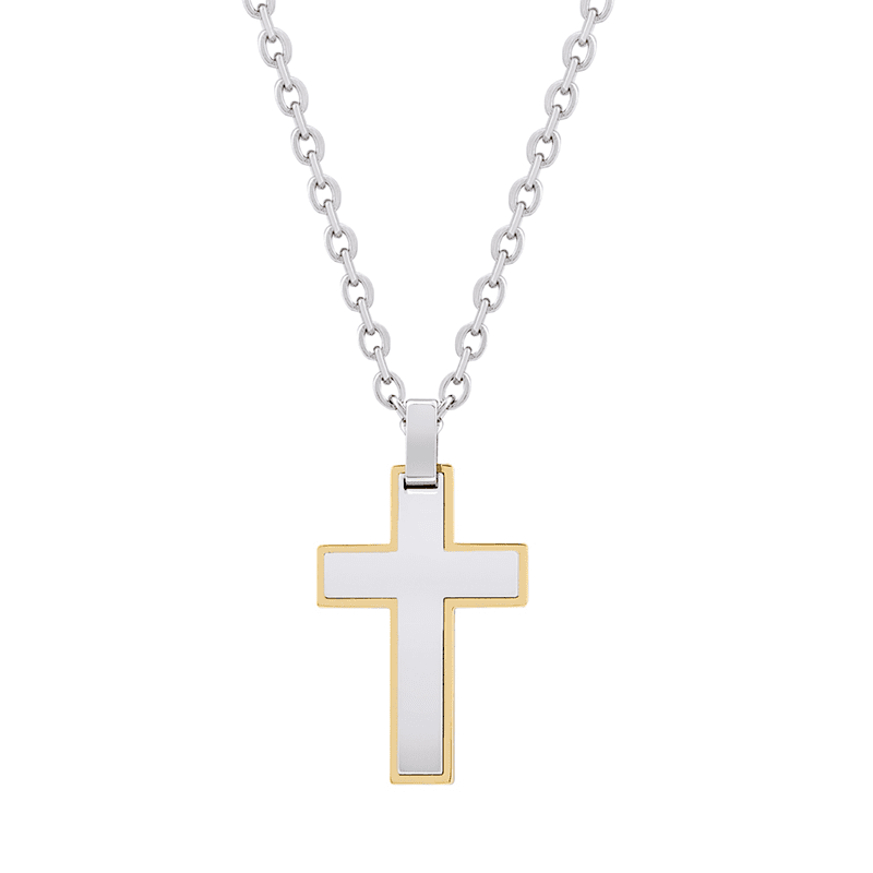 A.R.Z Steel - Gold Edged Steel Cross Pendant