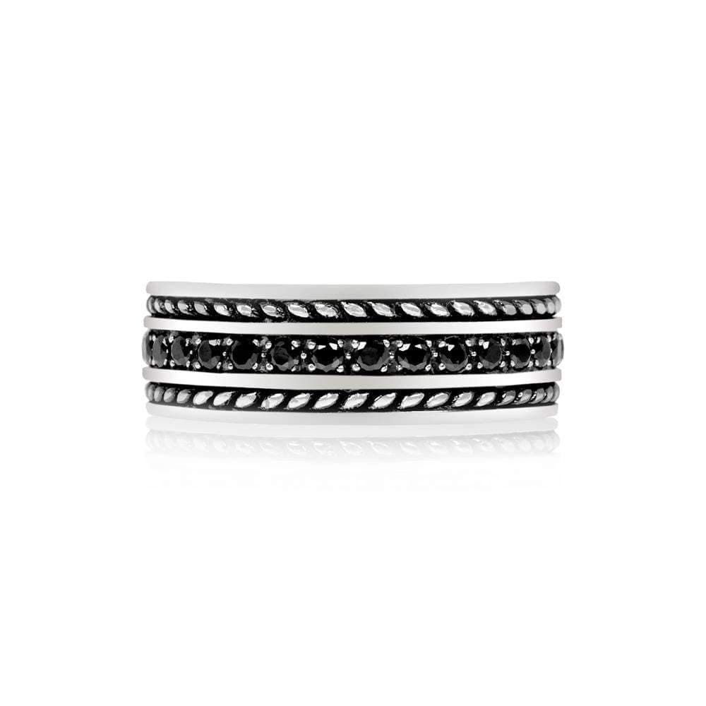 A.R.Z Steel - Rope Sides Black Stone Wedding Ring