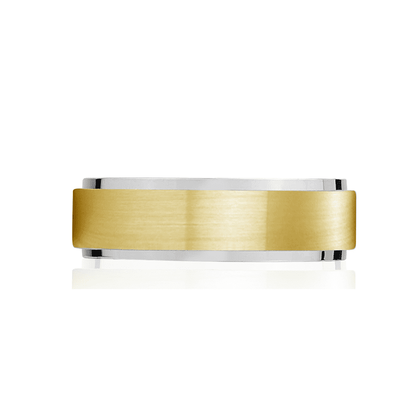 A.R.Z Steel - 7mm Matte And Shiny Gold Wedding Ring