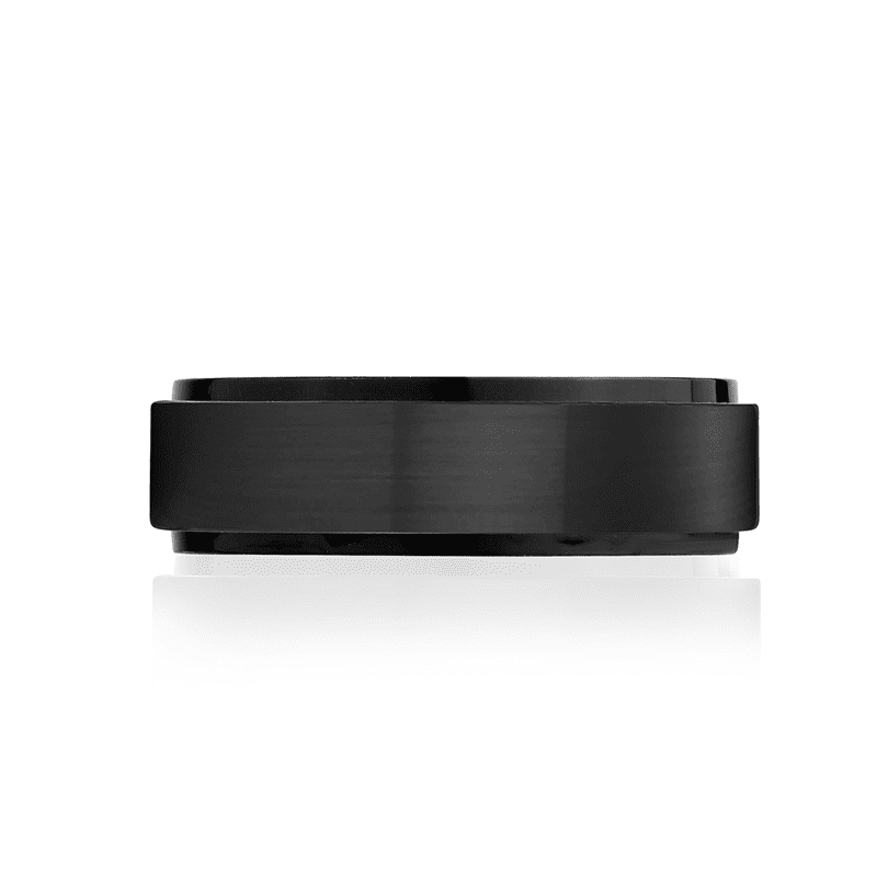 A.R.Z Steel - 7mm Matte And Shiny Black Wedding Ring