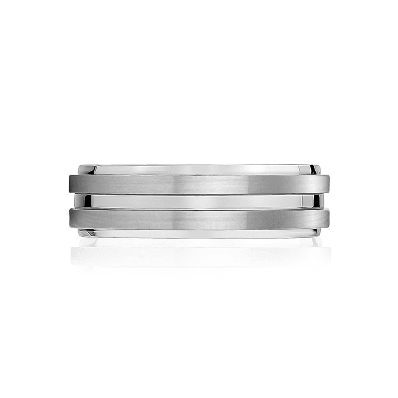 A.R.Z Steel - 7mm Matte Shiny Steel Wedding Ring