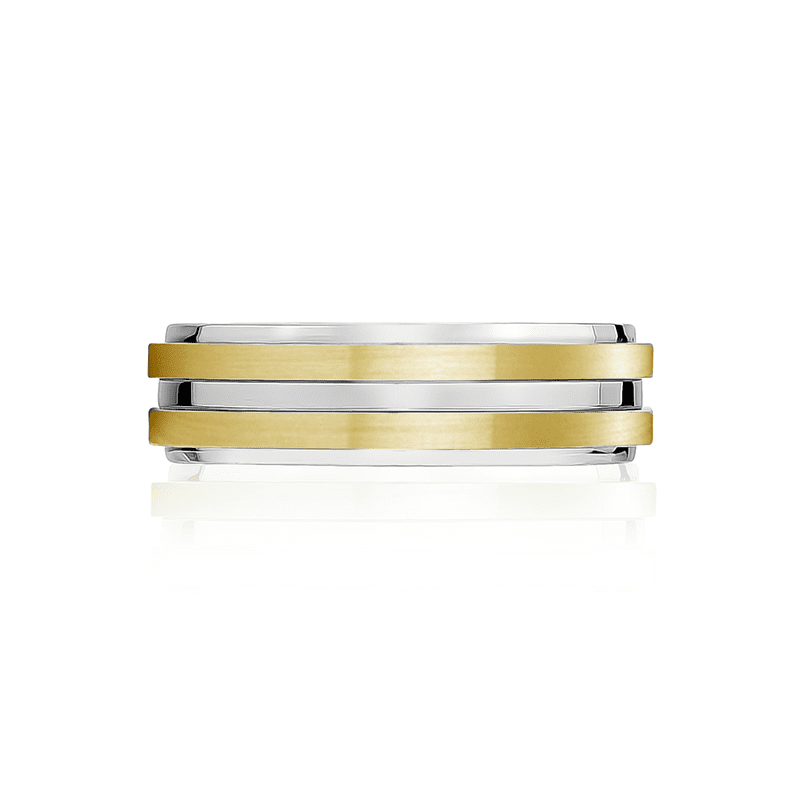 A.R.Z Steel - 7mm Matte And Shiny Gold Classic Wedding Ring