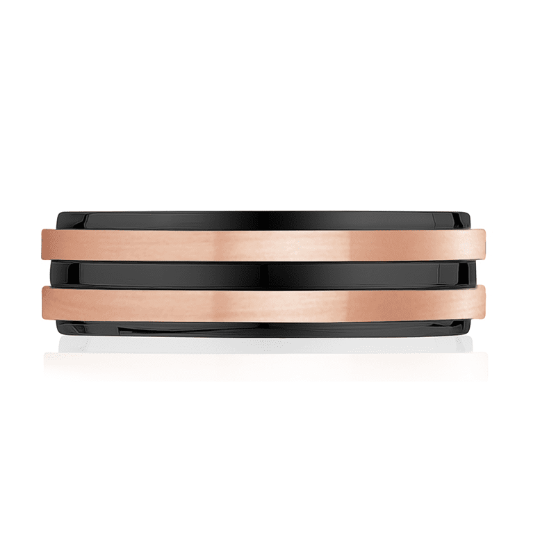 A.R.Z Steel - 7mm Black And Rose Gold Wedding Ring