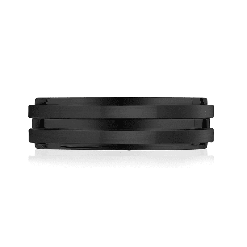A.R.Z Steel - 7mm Matte Shiny Black Wedding Ring