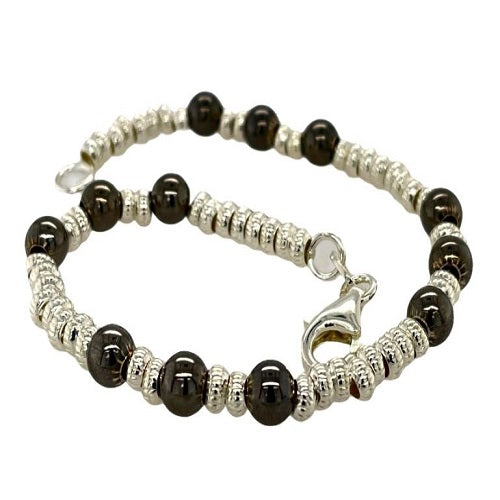 Black and Sterling Silver Bead Bracelet