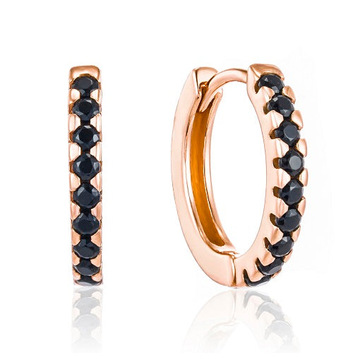 Rose Gold elegant black cz huggie earrings