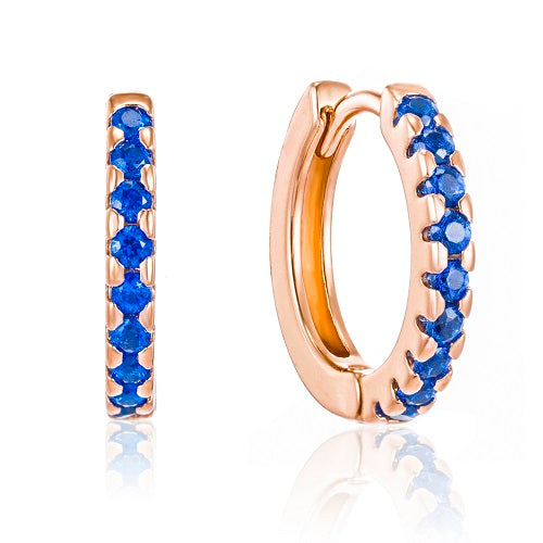 Rose Gold elegant blue cz huggie earrings