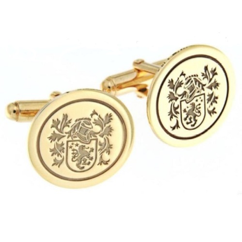 9ct gold gents family crest cufflinks