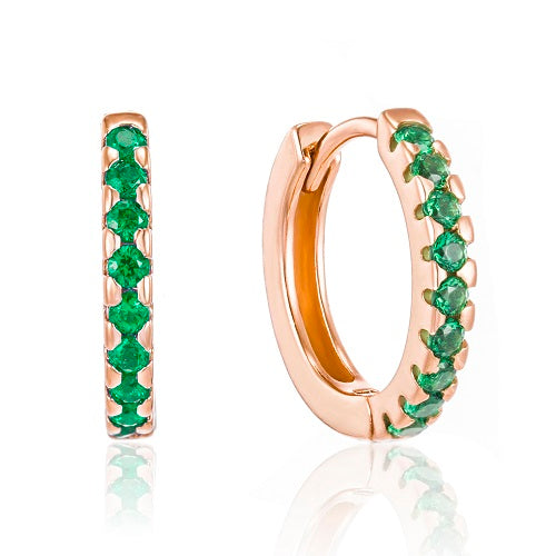 Rose Gold elegant green cz huggie earrings