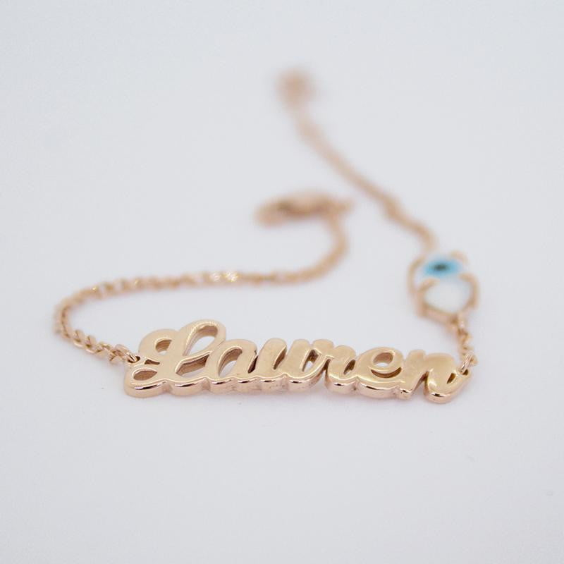 Evil Eye Name Bracelet - Rose Gold