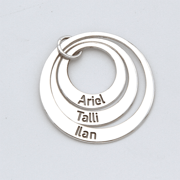 Three Circles Name Pendant and Chain