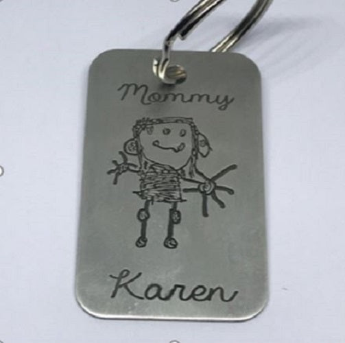 Silver Bespoke Kiddies Drawing Key Ring