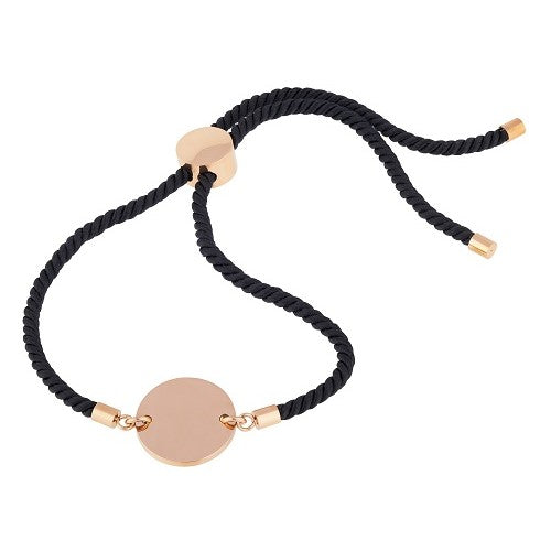 Black cord bracelet with rose gold 9ct vermeil disc