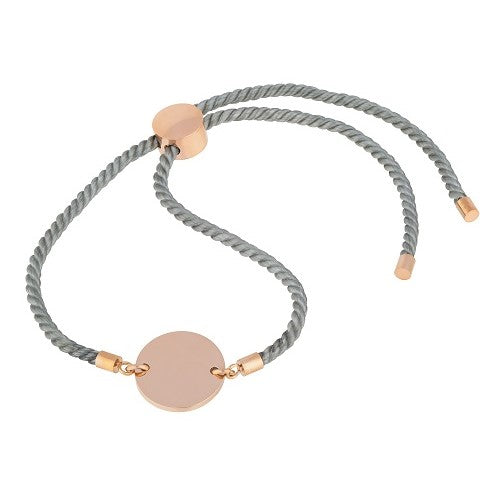 Grey cord bracelet with rose gold 9ct vermeil disc