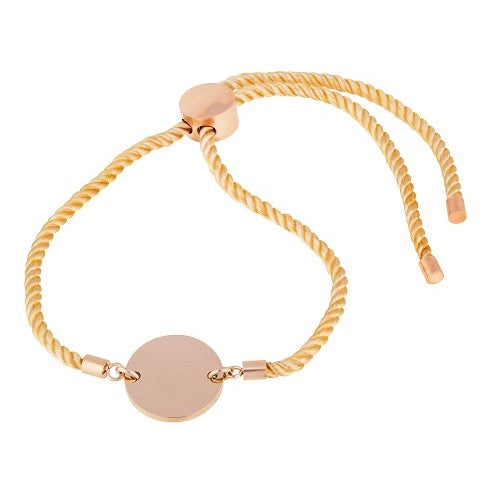 Tan cord bracelet with rose gold 9ct vermeil disc