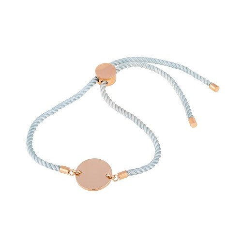 Blue cord bracelet with rose gold  9ct vermeil disc