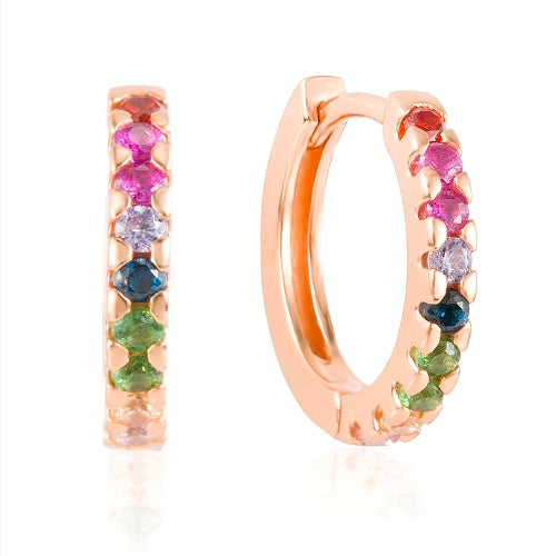 Rose Gold elegant multi colour huggie earrings