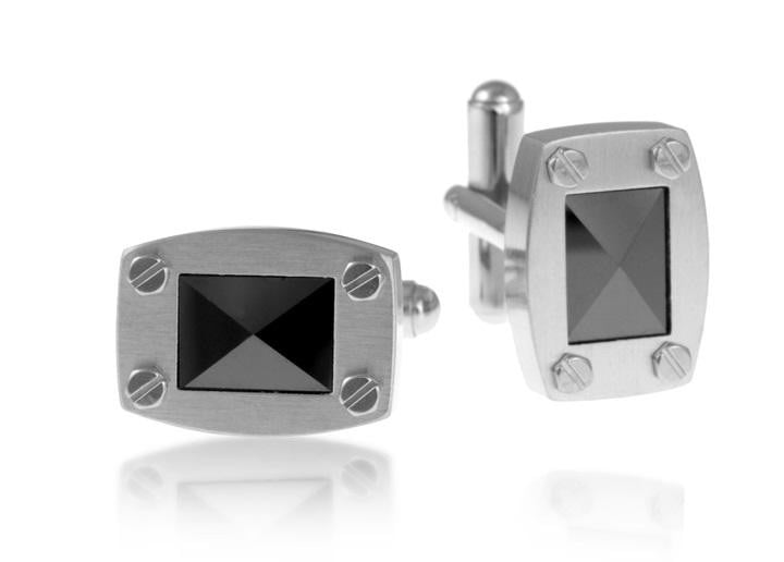 A.R.Z  Steel -  Black Cz Set Stone CuffLinks