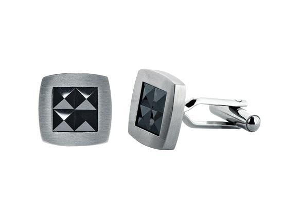 A.R.Z Steel - Black Princess Cut Gems set Cufflinks
