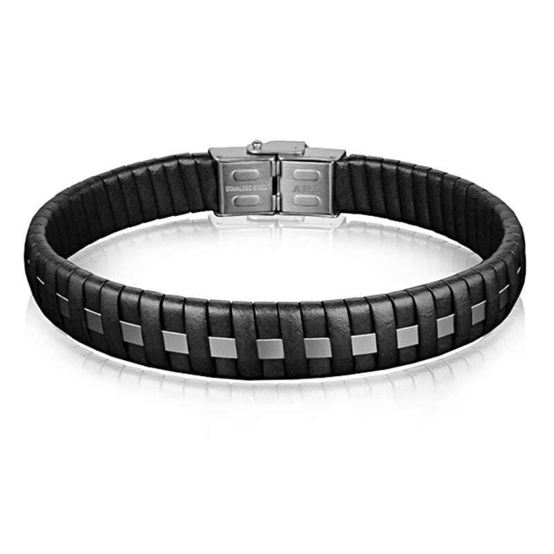 A.R.Z Steel - Leather Braided With Metal Strip Bracelet