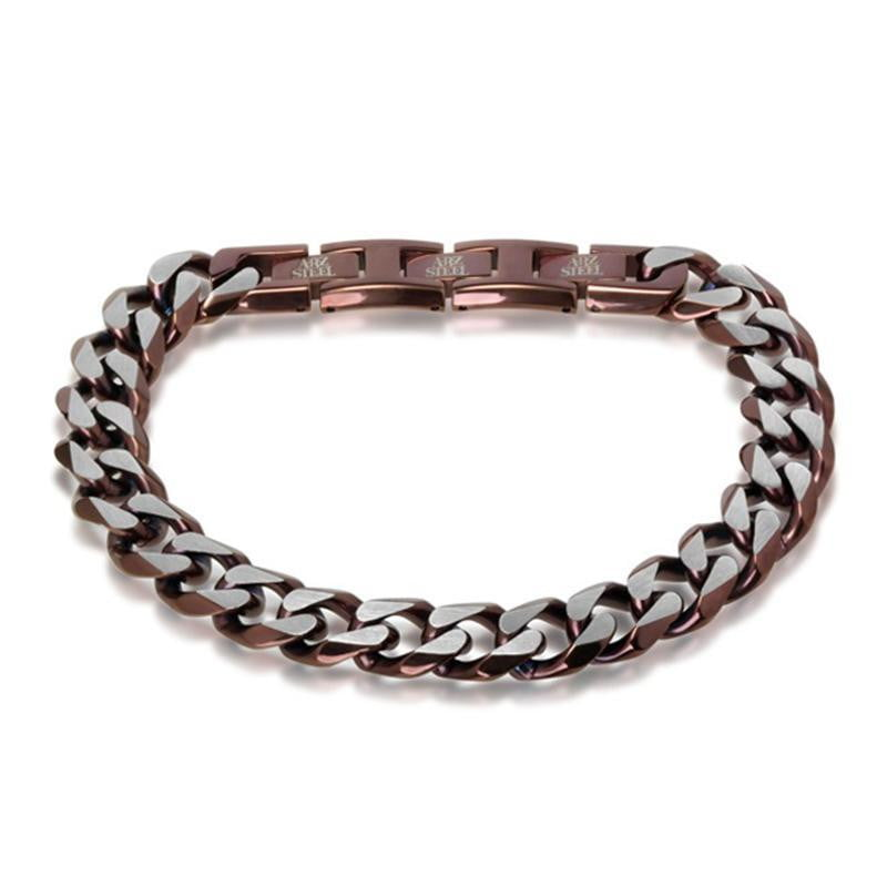 A.R.Z Steel - Open faceted Link Fold Over Clasp Bracelet