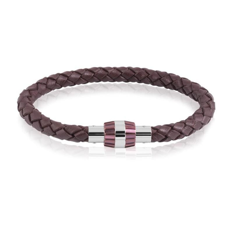 A.R.Z Steel - Brown braided Leather Rose And Steel Bracelet