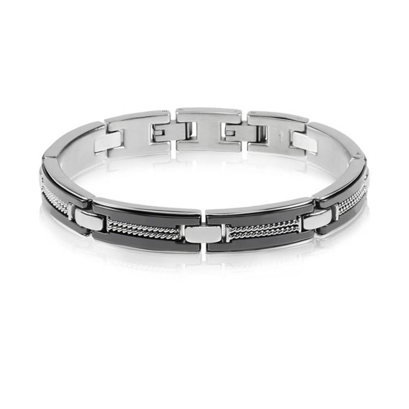 A.R.Z Steel - Bar Hinged Bracelet With Carved Links