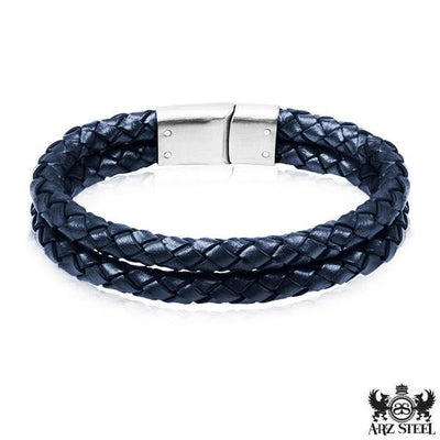 A.R.Z Steel - DOUBLE Woven Leather Bracelet
