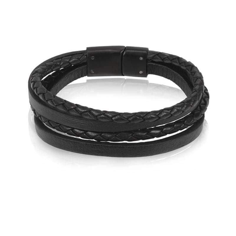 A.R.Z Steel - Two Braided Leather With Clasp Bracelet