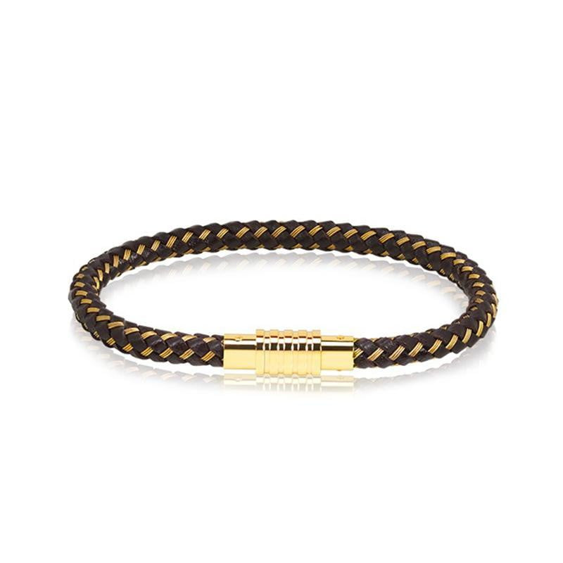 A.R.Z Steel - Gold And Brown Braided  Leather Bracelet