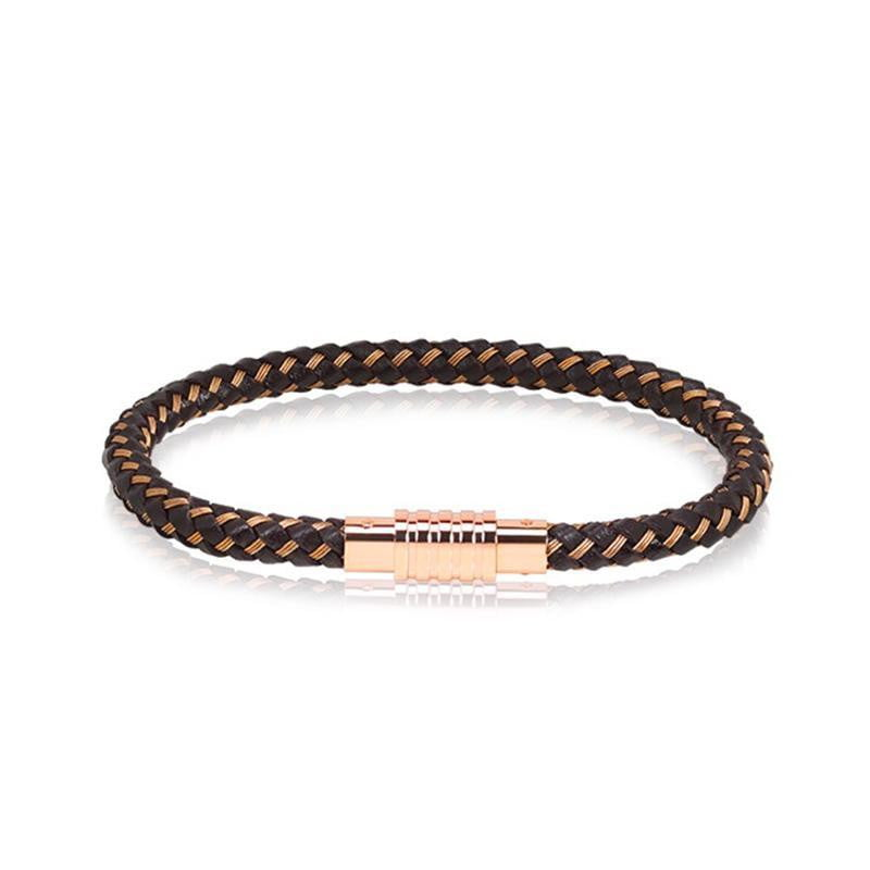 A.R.Z Steel - Rose Gold Brown Braided Leather Bracelet