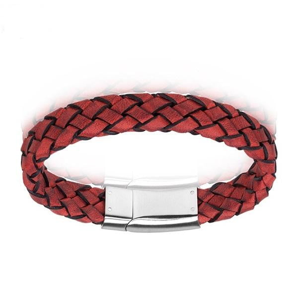A.R.Z Steel - Woven Red Leather Clasp Bracelet