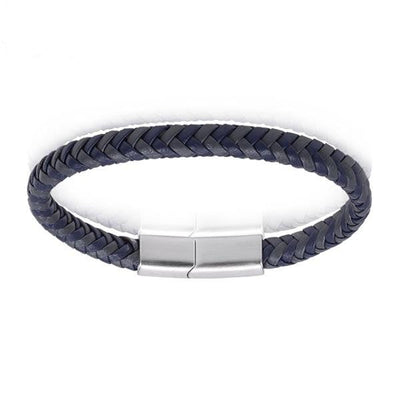 A.R.Z Steel - Blue and Grey Braided Leather Bracelet