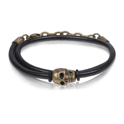 A.R.Z Steel - Skull Wrap And Clasp Leather Bracelet