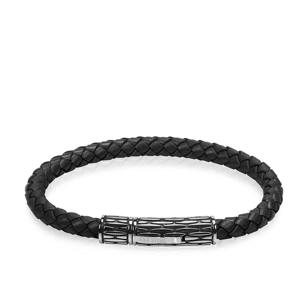 A.R.Z Steel - Braided Leather Steel Clasp bracelt