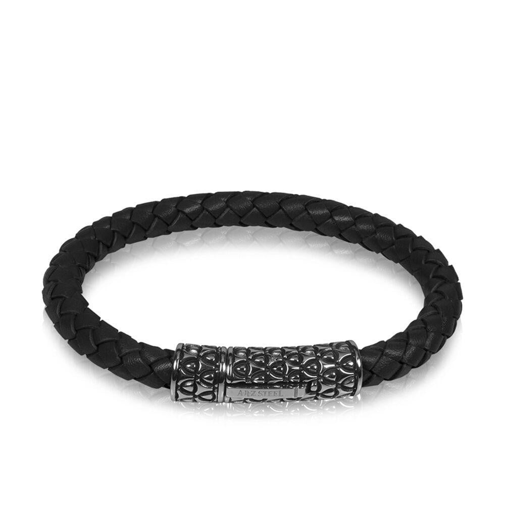 A.R.Z Steel - Black Braided Leather Carved Clasp Bracelet